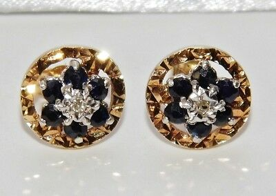 9ct Yellow Gold Sapphire & Diamond Vintage Cluster Earrings