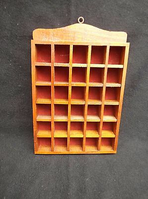 Vintage Wooden Thimble Display Shelf Holds 30 Thimbles - Wall Mounted
