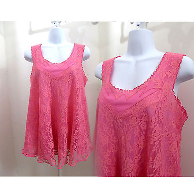 50s Vintage Negligee Size L Pink Lace Nylon Nightgown Nightie 50s Mini Babydoll