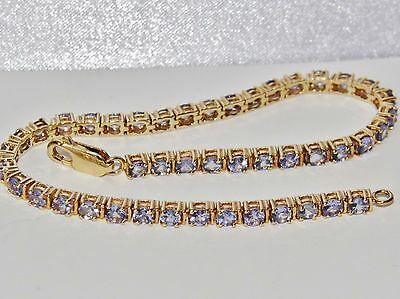 Beautiful 9ct Yellow Gold 5.00ct Tanzanite Ladies Tennis Bracelet
