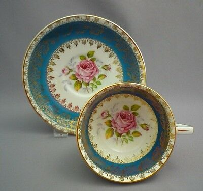 English Hand Paint PINK ROSES ROYAL STAFFORD Bone TURQUOISE GOLD Tea Cup Saucer