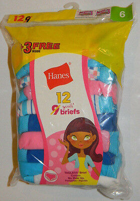 New Hanes Girls Cotton Tagless Briefs Size 6 Cotton Pink Blue 9 12 Pk Panties