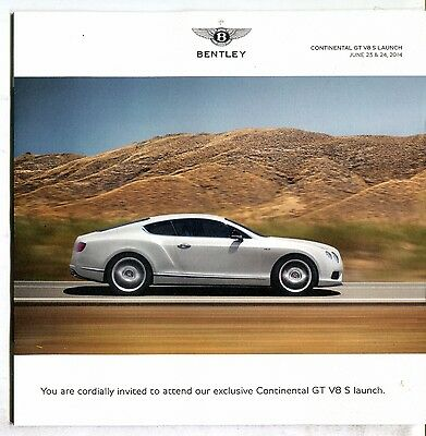Bentley Continental GT V8 S Launch Invite Flyer 2014 EX 060617nonjhe
