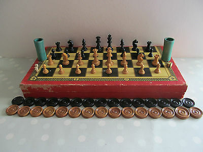 Vintage Wooden Chess Set And Folding Board With Draughts And Backgammon