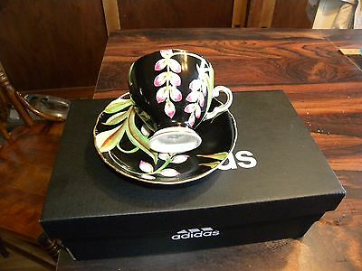 TUSCAN CUP & SAUCER/Black with Floral