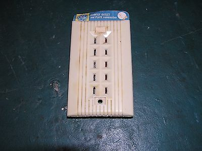 NEW OLD STOCK Ivory Bakelite GE Quintet Outlet & Plate Combination Ribbed