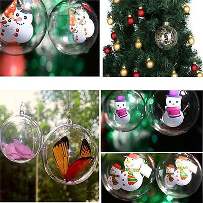 SALE 5pcs Ball Christmas Baubles Clear Fillable Xmas Tree Decoration Ornaments