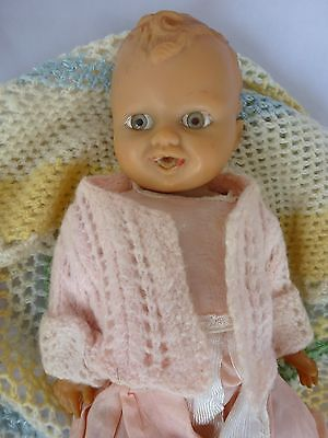 Old Rubber Baby Doll - Moulded Hair And Face -  31Cm  Old Toy