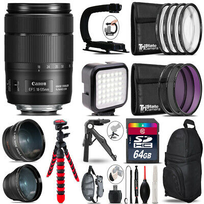 Canon EFS 18-135mm IS USM -Video Kit + LED KIt + Monopad - 64GB Accessory Bundle