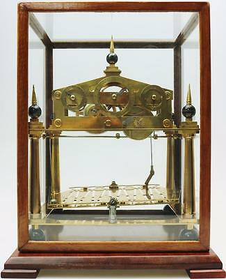 Antique English Single Fusee Congreve Mystery Automation Clock Under Glass Case