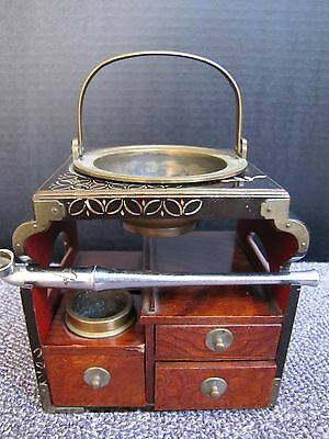 Antique Japanese Meiji Period Tobacco  Smoke Pipe with Carriage Case