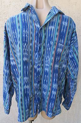 Guatemalan? ethnic blue woven cotton l/s shirt sz M/L hippie boho
