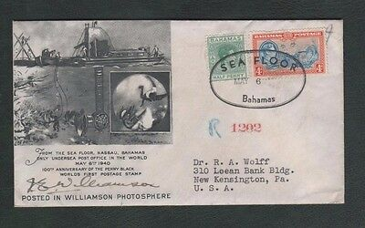 Bahamas 1940 Sea Floor Post Office Signed Registered Cover to USA