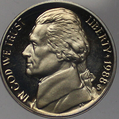 1988 S Jefferson Nickel Gem Deep Cameo Proof Coin