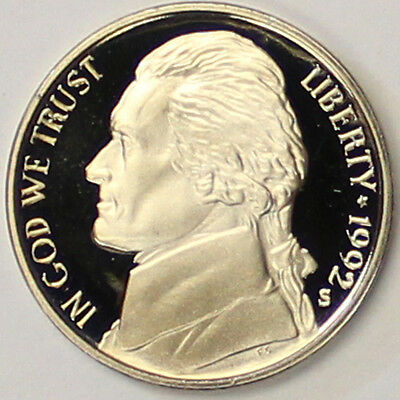 1992 S Jefferson Nickel Gem Deep Cameo Proof Coin