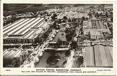 British Empire Exhibition Postcard Ariel View Lake, Palaces of Industry etc.