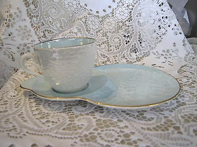 Vintage Maling Lustre Tennis/Sandwich Set Cup and Plate Turqoise/Blue