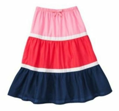 Size 12, Gymboree BLOOMING NAUTICAL Tier Colored Maxi Skirt, NWT