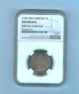 1745 One Shilling Great Britain Coin Ngc - Fine Details Surface Hairlines