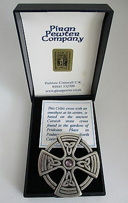Boxed Piran Pewter (Cornwall) brooch ~ Celtic Cross with amethyst
