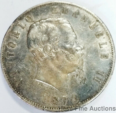 Large 1870 VF+ Five Lire Silver Dollar Sized Italian Coin Vittorio Emanuele II