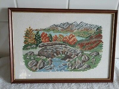 Framed Tapestry Bridge And Water