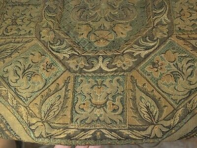 antique runner metal thread green gold 52 in. Victorian original 1890