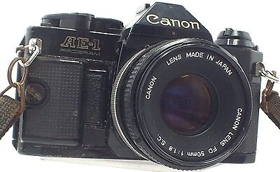 CANON AE-1 PROGRAM SLR Camera With Canon 50mm f/1.8 S.C. FD Mount Lens - W31
