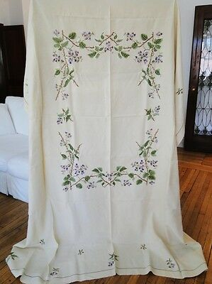 Antique Linens- Fine Tablecloth W/polychrome Embroidered Florals,napkins