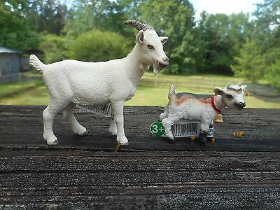 DOMESTIC GOAT & KID by Schleich; NEW 2013; toy/goats/white