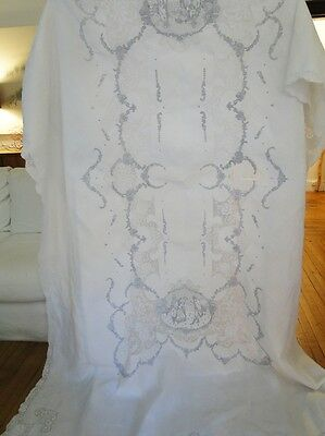 Antique Linens-Lovely Figural Appenzel Linen Tablecloth