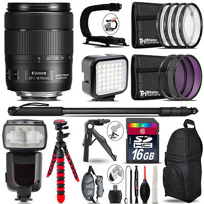 Canon 18-135mm IS USM - Video Kit + Pro Flash + Monopad - 16GB Accessory Bundle