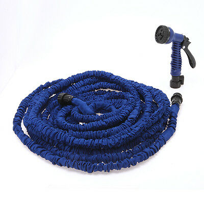 Blue Flexible Expanding Garden Water Hose 100 FT with Spray Nozzle Head Latex