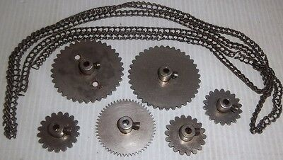 6 Assorted Early Meccano Nickel Sprocket & Gear Wheel With Chain