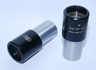 """Pair Zeiss Microscope Eyepieces W Kpl 10X """"goggles"""" - Very Good"""