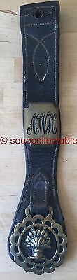 antique BAKER or FARMER AWH or AWSC HORSE BRASSES ON LEATHER MARTINGALE