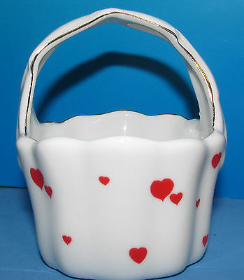 """Lefton Tiny China Red Heart Basket 03094 made In Japan 3.4"""" tall"""
