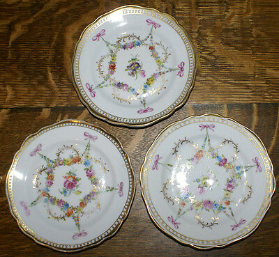 THREE Carl Thieme Potschappel 19th Century Dresden Gilded Floral Plates