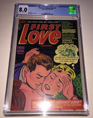 FIRST LOVE ILLUSTRATED #21 CGC 8.0 Headlights Cover 1952