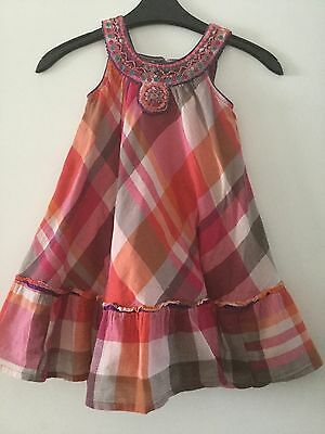 Monsoon Girls Bright Summer Checked Sequin Design Dress Size 4-5 Years