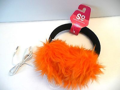 Faux Fur Winter Earmuff Ear Muffs with  Headphones  BRIGHT ORANGE  NEW w/tag