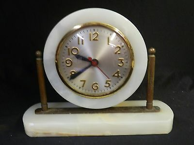 Vtg Art Deco Sessions Electric Mantel Clock Marble & Brass For Repair