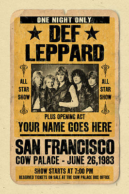 your name on a cool, personalized concert poster with Def Leppard
