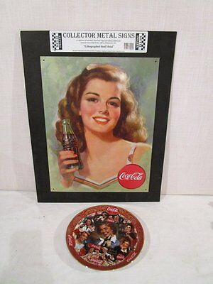 MODERN REPRO 1950's COCA COLA SODA TIN SIGN & COLLECTORS PLATE