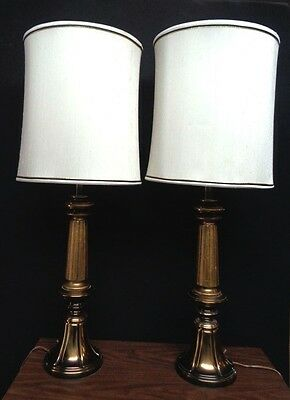 "PAIR Vintage 37"" Brass REMBRANDT Table Lamps MCM Hollywood Regency EX! NR!"