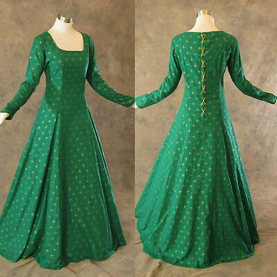 Medieval Renaissance Gown Green Gold Dress Costume LOTR Wedding Wicca 4X