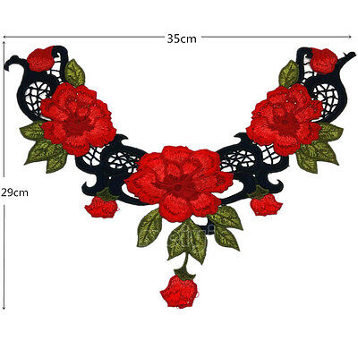 Large Flower & Leaf Applique Red Satiny Rose Neckline Embroidery Gorgeous!