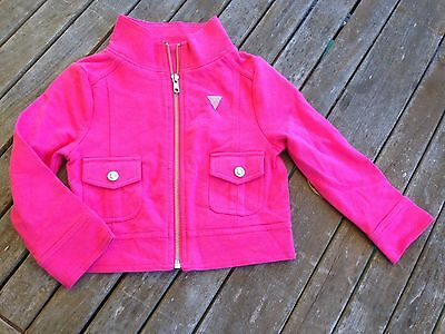 New GUESS Girl's rhinestone studded bedazzled moto jacket Toddler 4T PINK