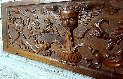 ANGEL PANEL 48.74 in HUGE ANTIQUE FRENCH OAK HAND CARVED WOOD PEDIMENT 19 th