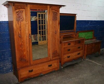 ~Beautiful ~Antique ~ Solid Oak ~Art Nouveau ~Bedroom Suite ~3 Piece ~